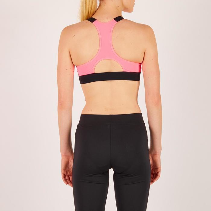 Brassière fitness cardio femme imprimés géométriques noirs 500 Domyos - 1270953
