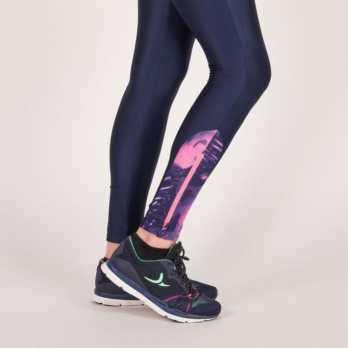 Legging fitness cardio femme bleu marine et imprimés tropicaux roses 500 Domyos - 1270954