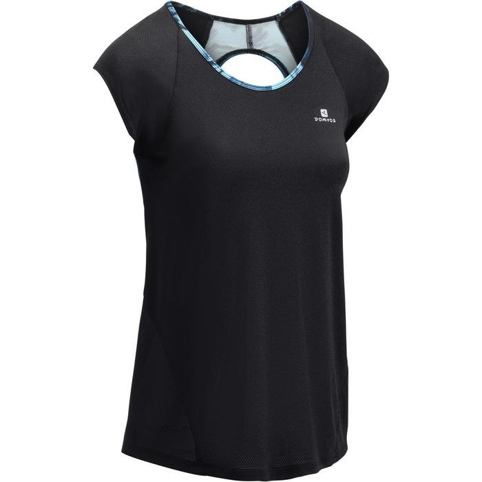 T-shirt fitness cardio femme bleu marine à imprimés roses 500 Domyos - 1270955