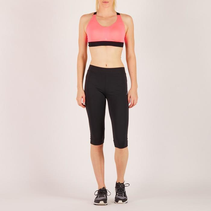 Brassière fitness cardio femme imprimés géométriques noirs 500 Domyos - 1270958