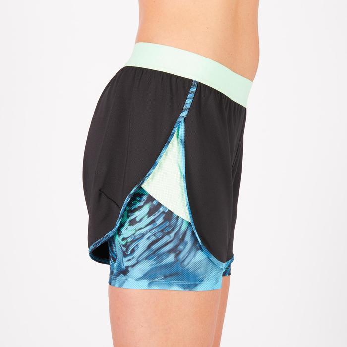 Short 2 en 1 fitness cardio femme noir et imprimés bleus 520 Domyos