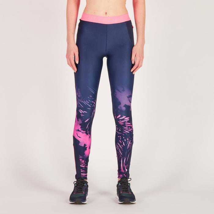 Legging fitness cardio femme bleu marine et imprimés tropicaux roses 500 Domyos - 1270967
