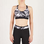 500 Women's Cardio Fitness Sports Bra - Black Geometric Print