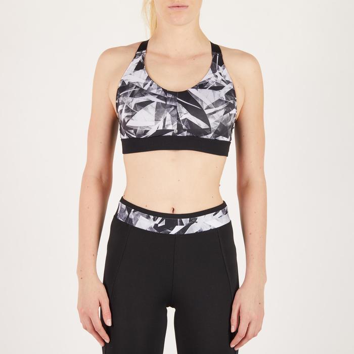 Brassière fitness cardio femme imprimés géométriques noirs 500 Domyos - 1270972