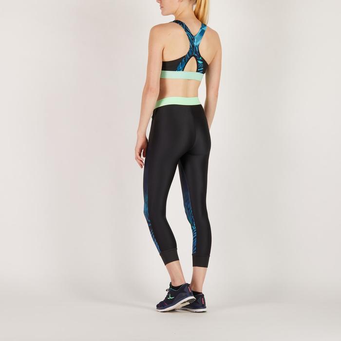 Leggings 7/8 fitness cardio mujer, negros con estampado tropical azul 500 Domyos