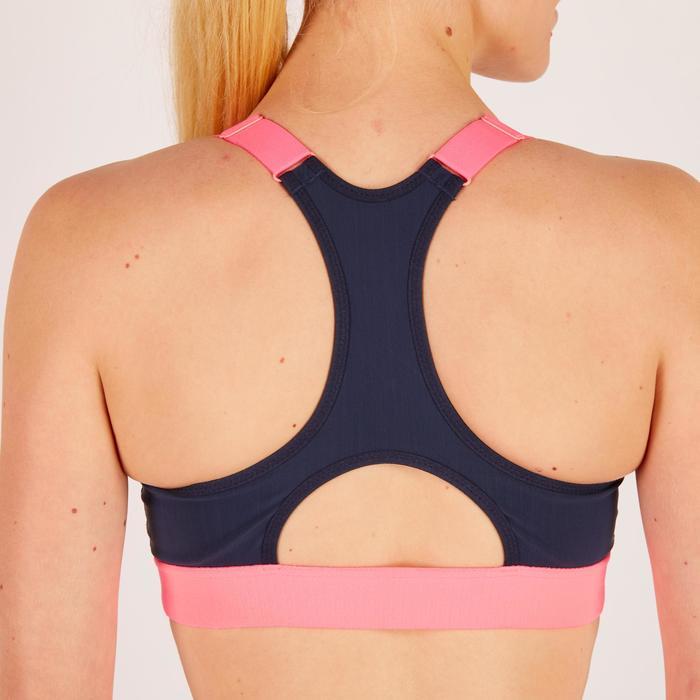 Brassière zip fitness cardio femme imprimés tropicaux roses 900 Domyos - 1270976