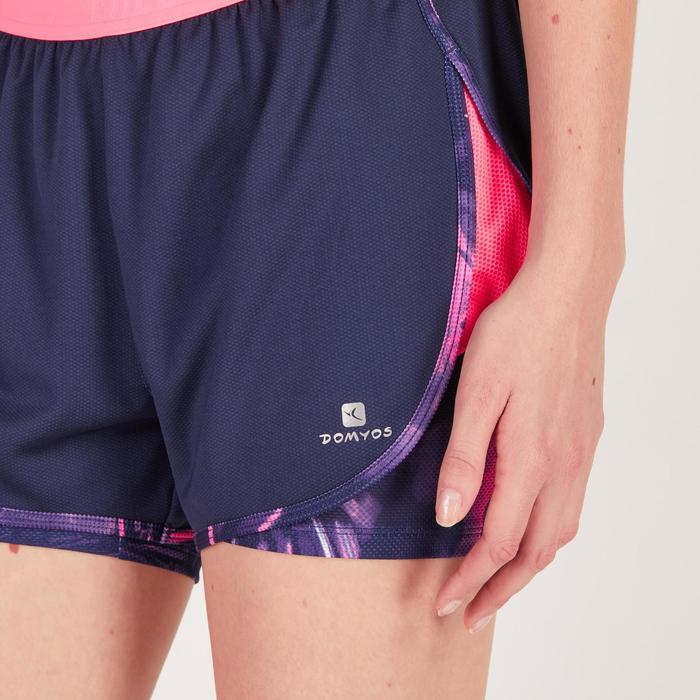 Short 2 en 1 fitness cardio mujer azul marino y estampados rosas 520 Domyos