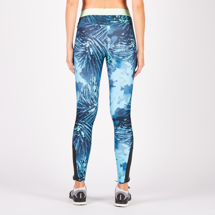 Legging fitness cardio femme bleu marine et imprimés tropicaux roses 500 Domyos - 1270991