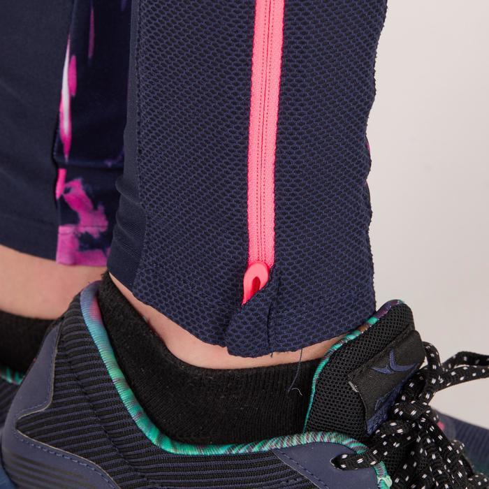 Legging fitness cardio femme bleu marine à imprimés tropicaux roses 500 Domyos