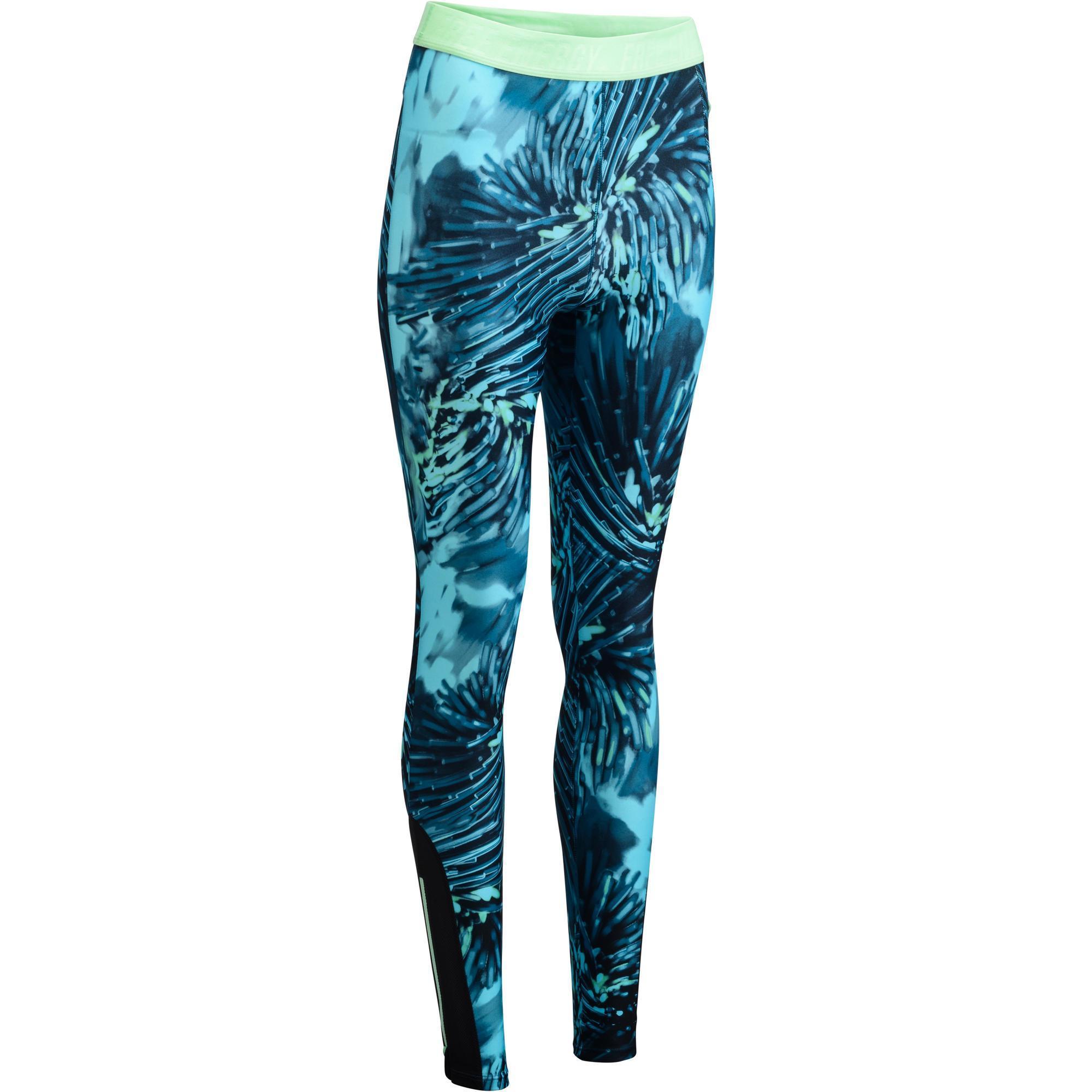 Fitness Leggings Damen Blickdicht: Leggings 500 Fitness Cardio Damen Tropenmotiv Blau