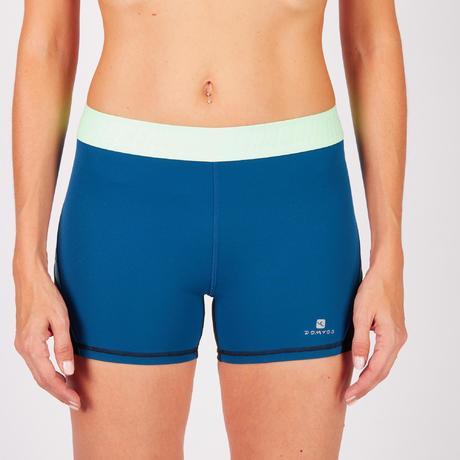 sporthose kurz 500 fitness cardio damen schwarz blau. Black Bedroom Furniture Sets. Home Design Ideas