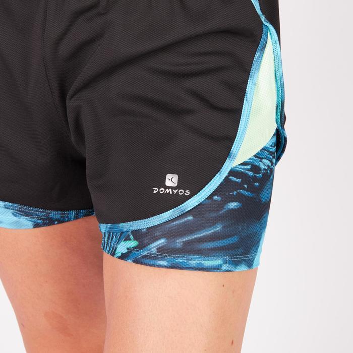 Short 2 en 1 fitness cardio femme bleu marine et imprimés roses 520 Domyos - 1271022