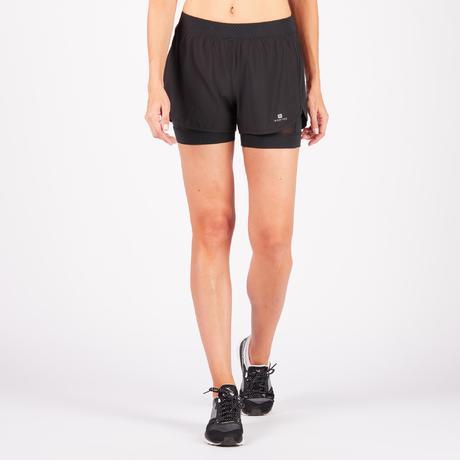 short 2 en 1 fitness cardio training femme noir 900 domyos by decathlon. Black Bedroom Furniture Sets. Home Design Ideas