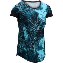 Cardiofitness T-shirt 500 voor dames tropical print blauw Domyos