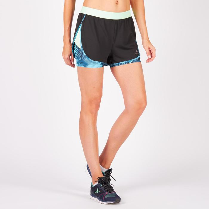 Short 2 en 1 fitness cardio femme bleu marine et imprimés roses 520 Domyos - 1271052