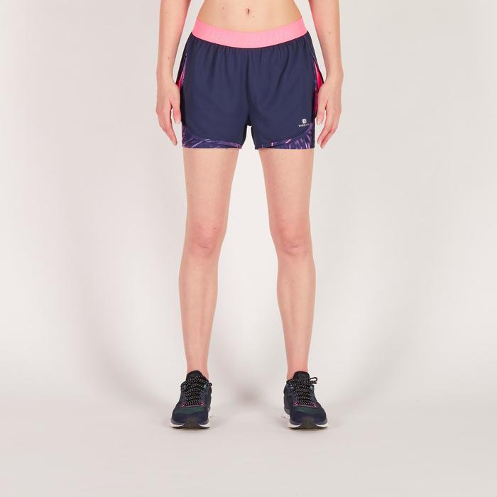 Short 2 en 1 fitness cardio femme bleu marine et imprimés roses 520 Domyos - 1271053