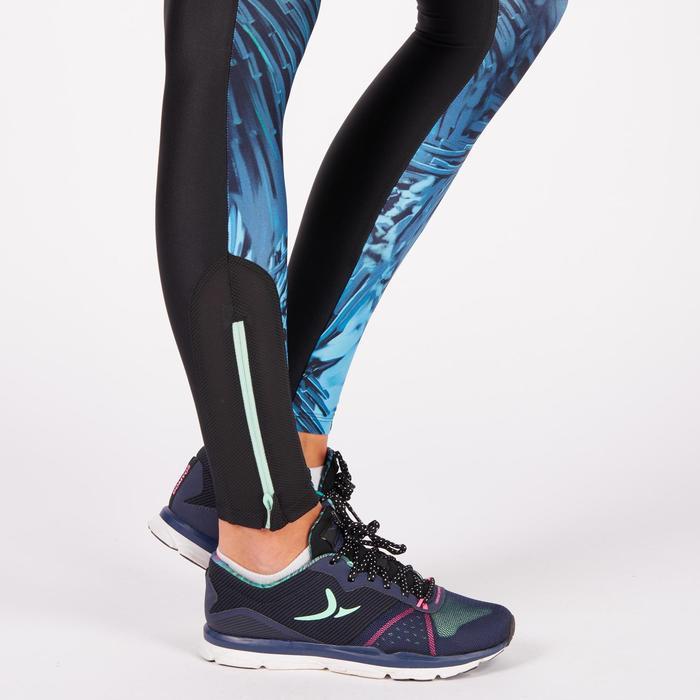 Legging fitness cardio femme bleu marine et imprimés tropicaux roses 500 Domyos - 1271057