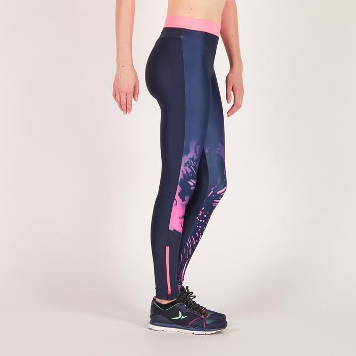 Legging fitness cardio femme bleu marine et imprimés tropicaux roses 500 Domyos - 1271058