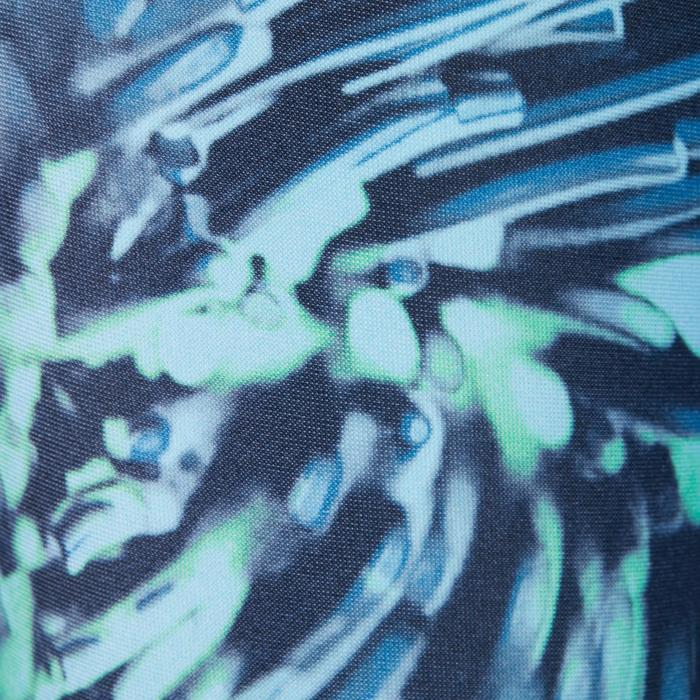 Legging fitness cardio femme bleu marine et imprimés tropicaux roses 500 Domyos - 1271067