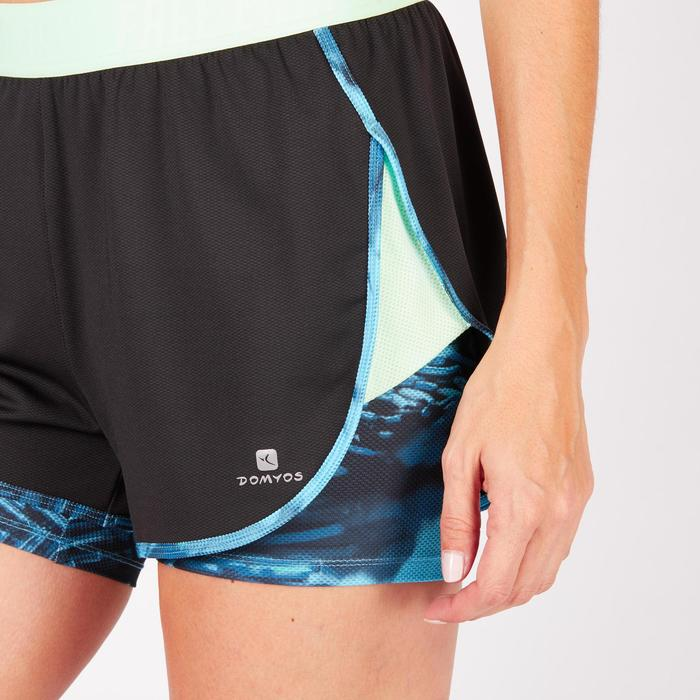 Short 2 en 1 fitness cardio femme bleu marine et imprimés roses 520 Domyos - 1271068