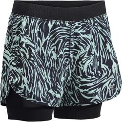 900 Women's 2-in-1 Cardio Fitness Shorts - Mint Green Graphic Print