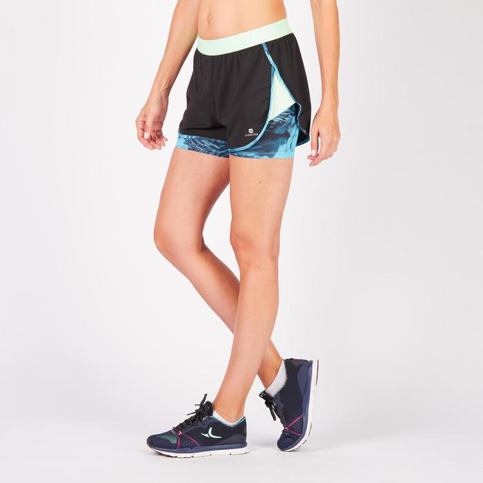 Short 2 en 1 fitness cardio mujer negro y estampados azules 520 Domyos
