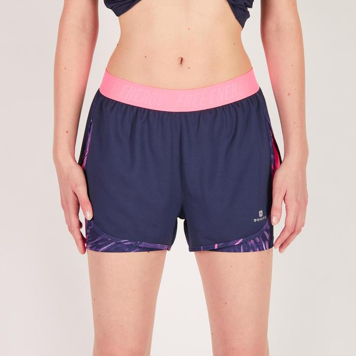 Short 2 en 1 fitness cardio femme bleu marine et imprimés roses 520 Domyos - 1271108