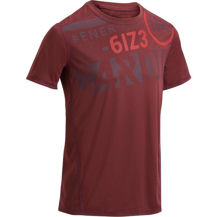 T-shirt fitness cardio homme noir imprimé FTS 120 - 1271203
