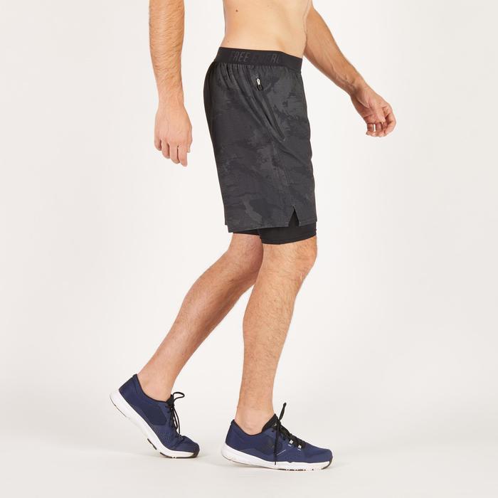 Short fitness cardio homme noir kaki FST520 - 1271261