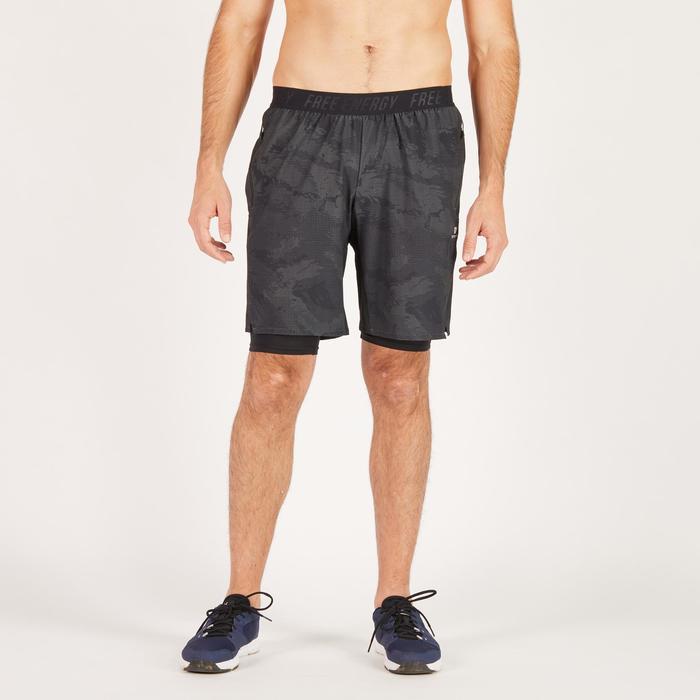 Short fitness cardio homme noir kaki FST520 - 1271275