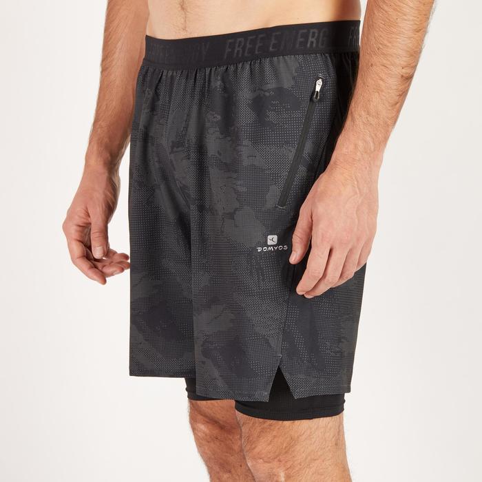 Short fitness cardio homme noir kaki FST520 - 1271328