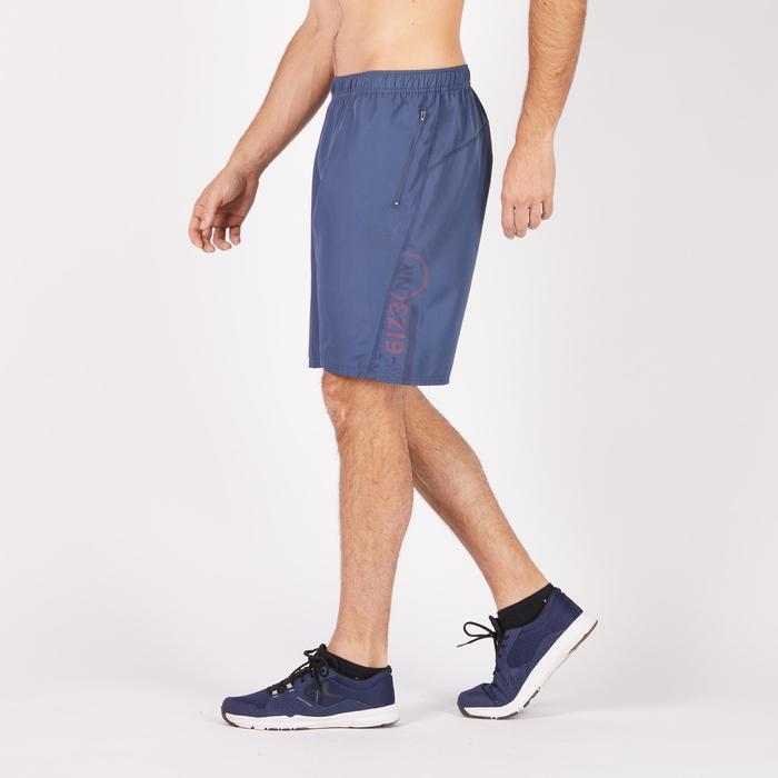 Short de fitness cardio para hombre gris, estampado FST120