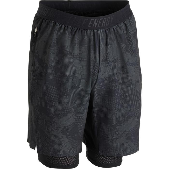 Short fitness cardio homme noir kaki FST520 - 1271397