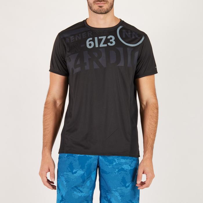 T-shirt fitness cardio homme noir imprimé FTS 120 - 1271534