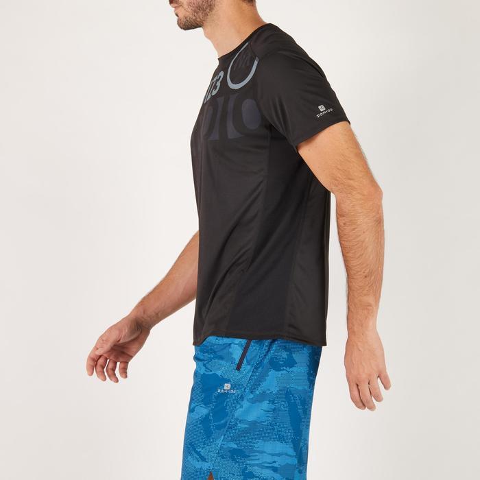 T-shirt fitness cardio homme noir imprimé FTS 120 - 1271616