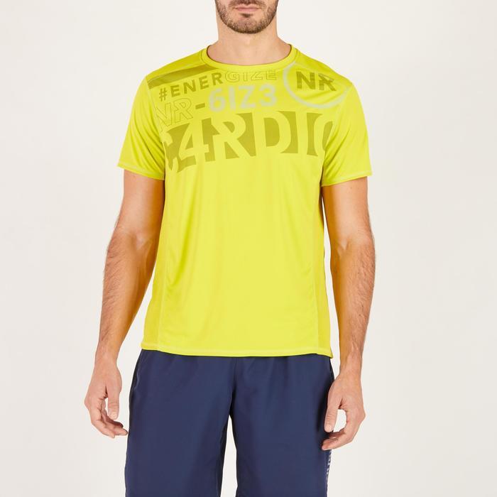T-shirt fitness cardio homme noir imprimé FTS 120 - 1271800