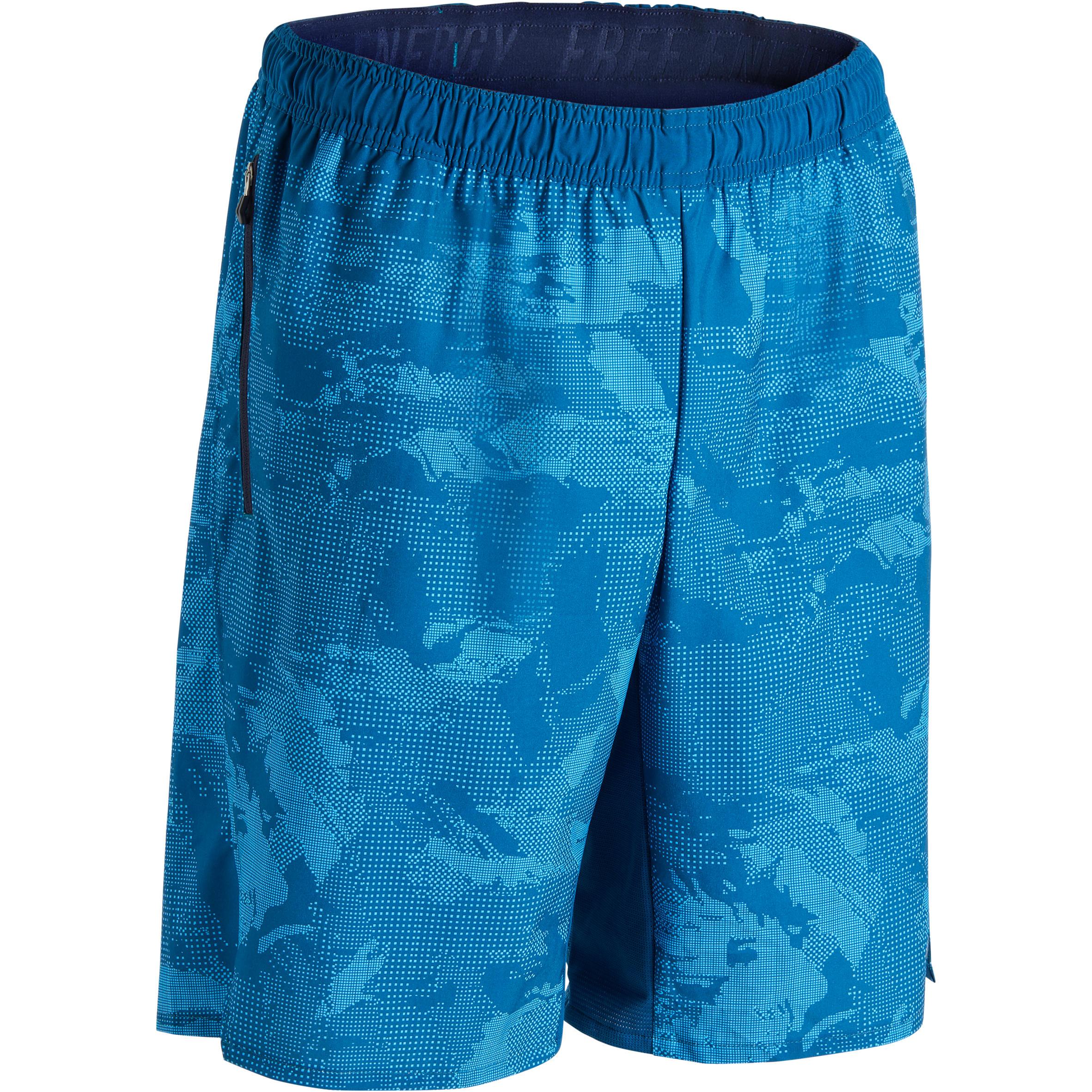 Domyos Cardiofitness short FTS500 voor heren blauw met print