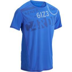 Fitness T-shirt FTS120 voor heren, voor cardiotraining, blauw met opdruk
