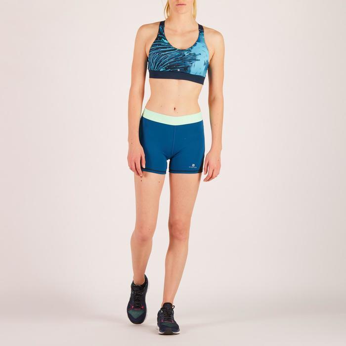 Brassière fitness cardio femme imprimés géométriques noirs 500 Domyos - 1271895