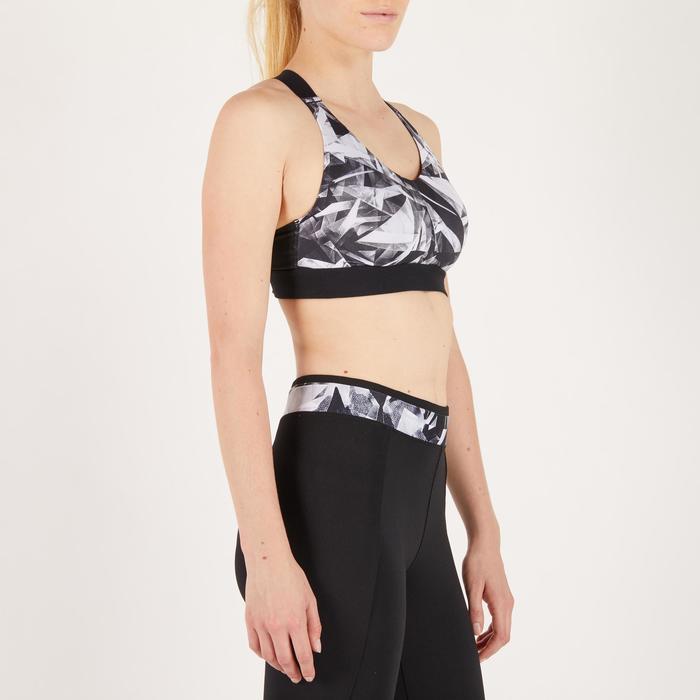 Sujetador-top fitness cardio mujer estampados geométricos negros 500 Domyos