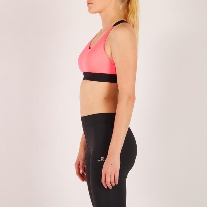 Brassière fitness cardio femme imprimés géométriques noirs 500 Domyos - 1271909