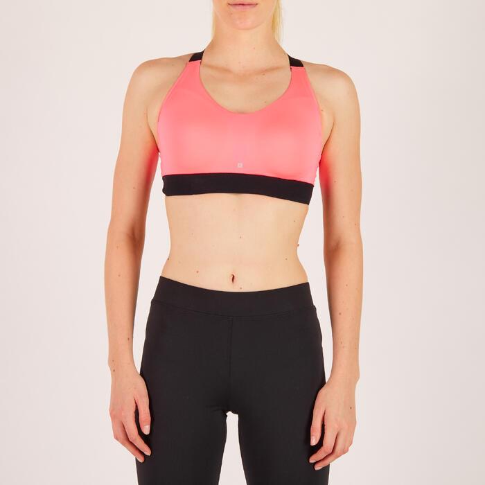 Brassière fitness cardio femme imprimés géométriques noirs 500 Domyos - 1271934