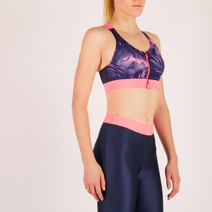 Brassière zip fitness cardio femme imprimés tropicaux roses 900 Domyos - 1271938