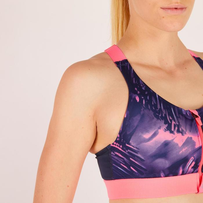Brassière zip fitness cardio femme imprimés tropicaux roses 900 Domyos - 1271945