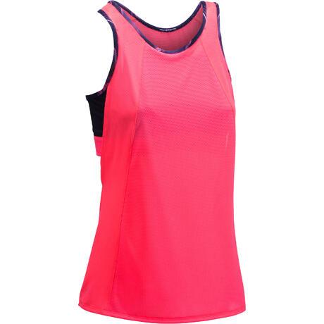 Débardeur brassière intégrée fitness cardio femme rose fluo 500 Domyos  2a647daa8fc