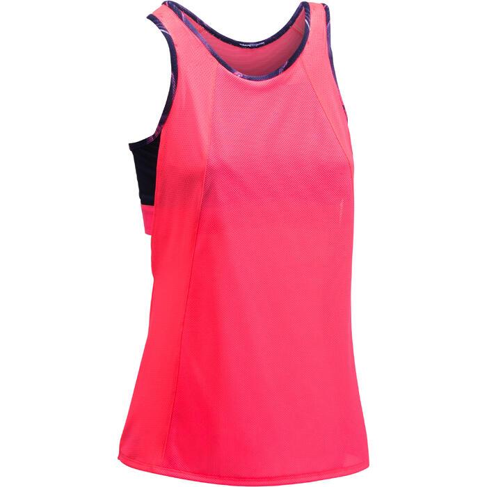 Débardeur brassière intégrée fitness cardio femme rose fluo 500 Domyos