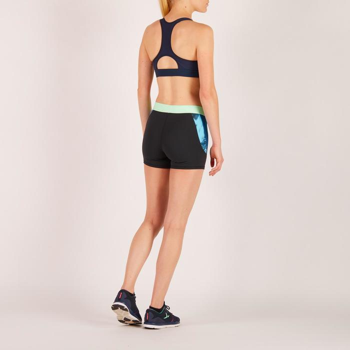 Brassière fitness cardio femme imprimés géométriques noirs 500 Domyos - 1271954