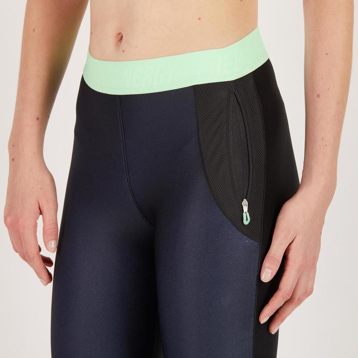 Legging 7/8 fitness cardio femme bleu marine détails tropicaux 500 Domyos - 1271958