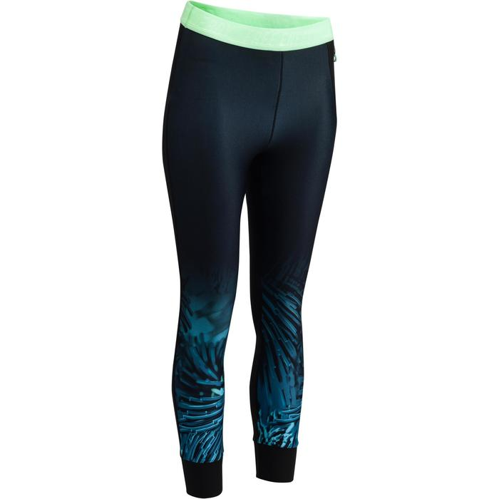 Leggings 7/8 fitness cardio mujer, negros con estampado tropical azul 500 Domyos