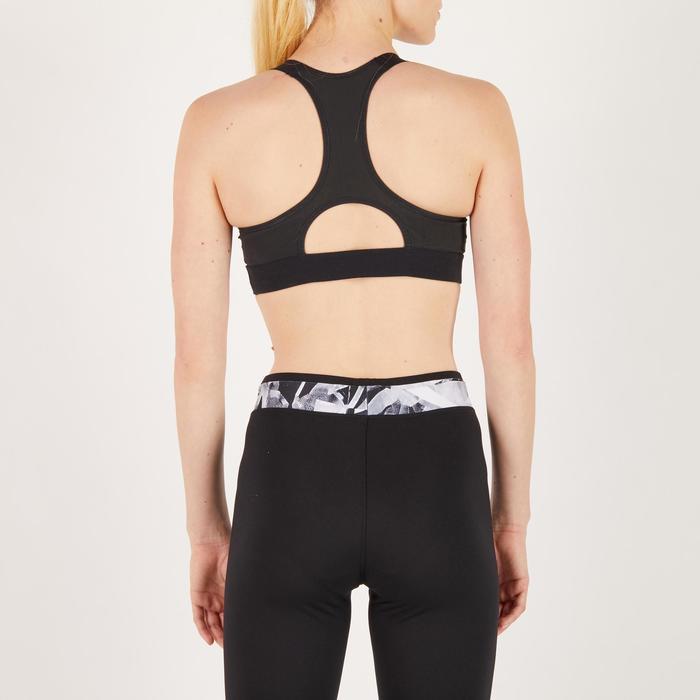 Brassière fitness cardio femme imprimés géométriques noirs 500 Domyos - 1271971
